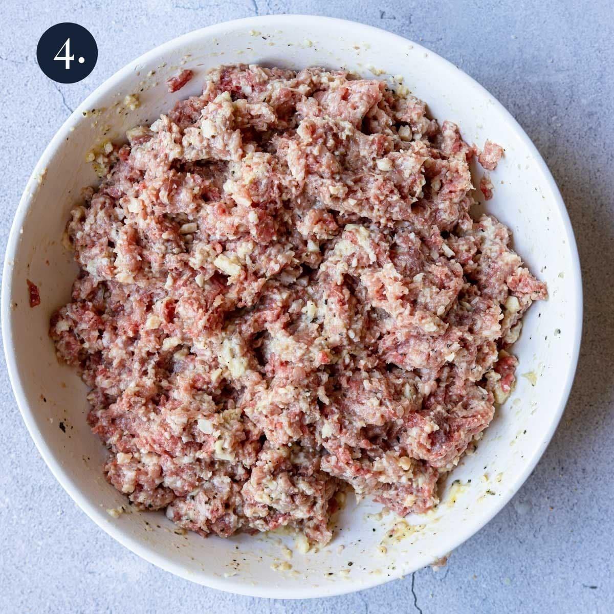Italian meatball mixture in a bowl