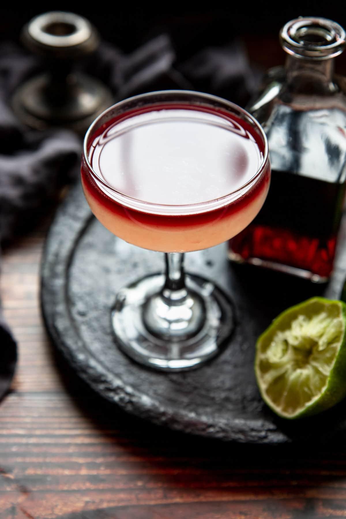 Devil's Margarita in a coupe glass