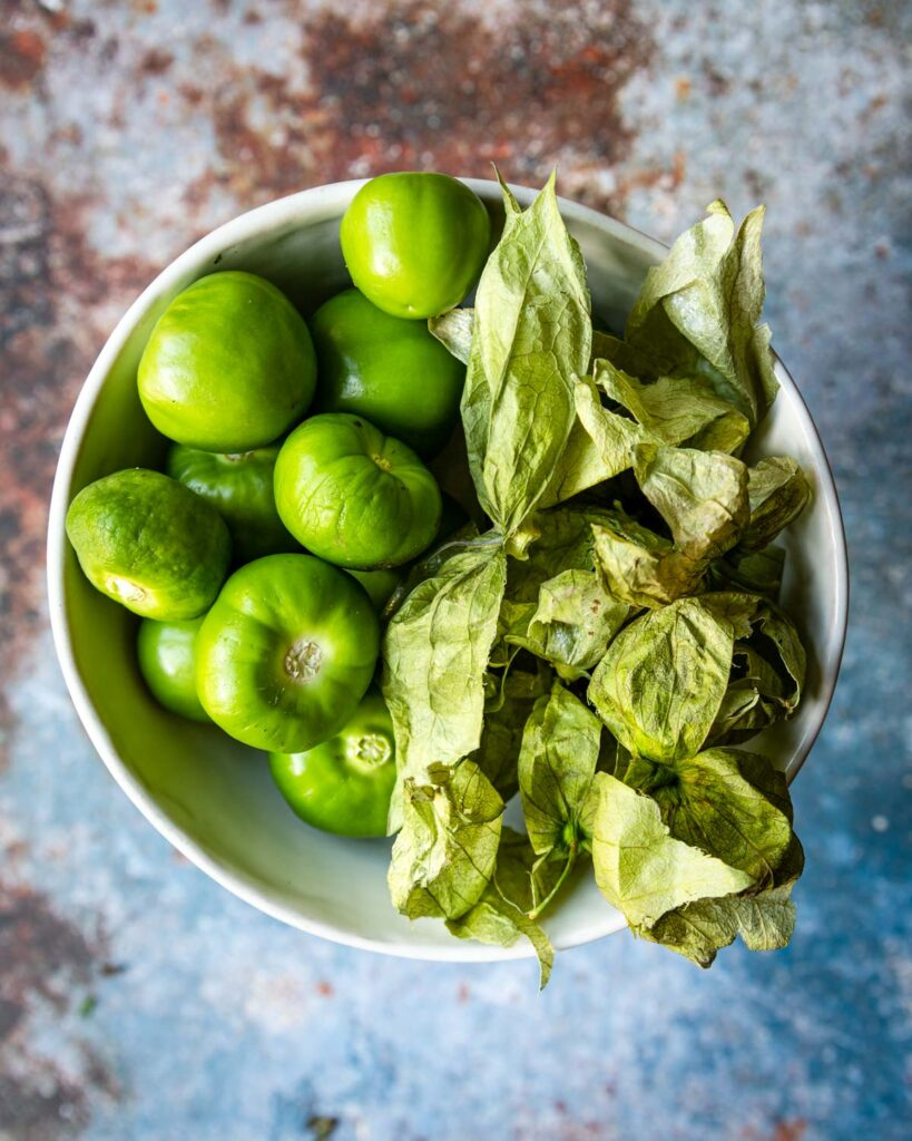 tomatillos with the husks off