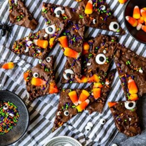 Brownie Brittle with halloween sprinkles, eyeballs and candy corn