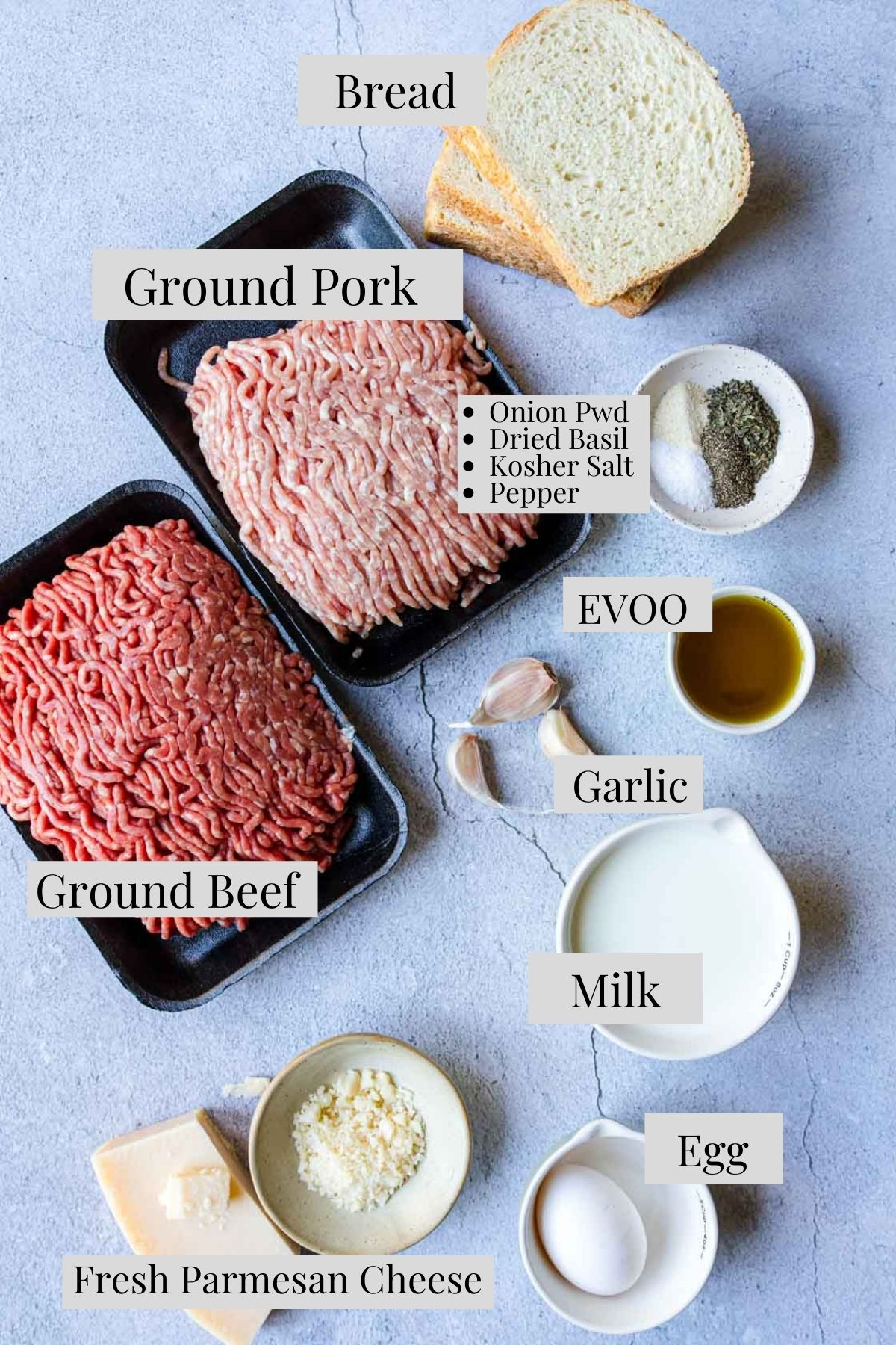 Ingredients with text labels