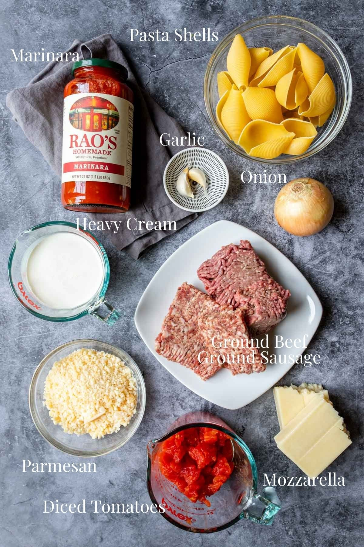 ingredients to make meat stuffed shells