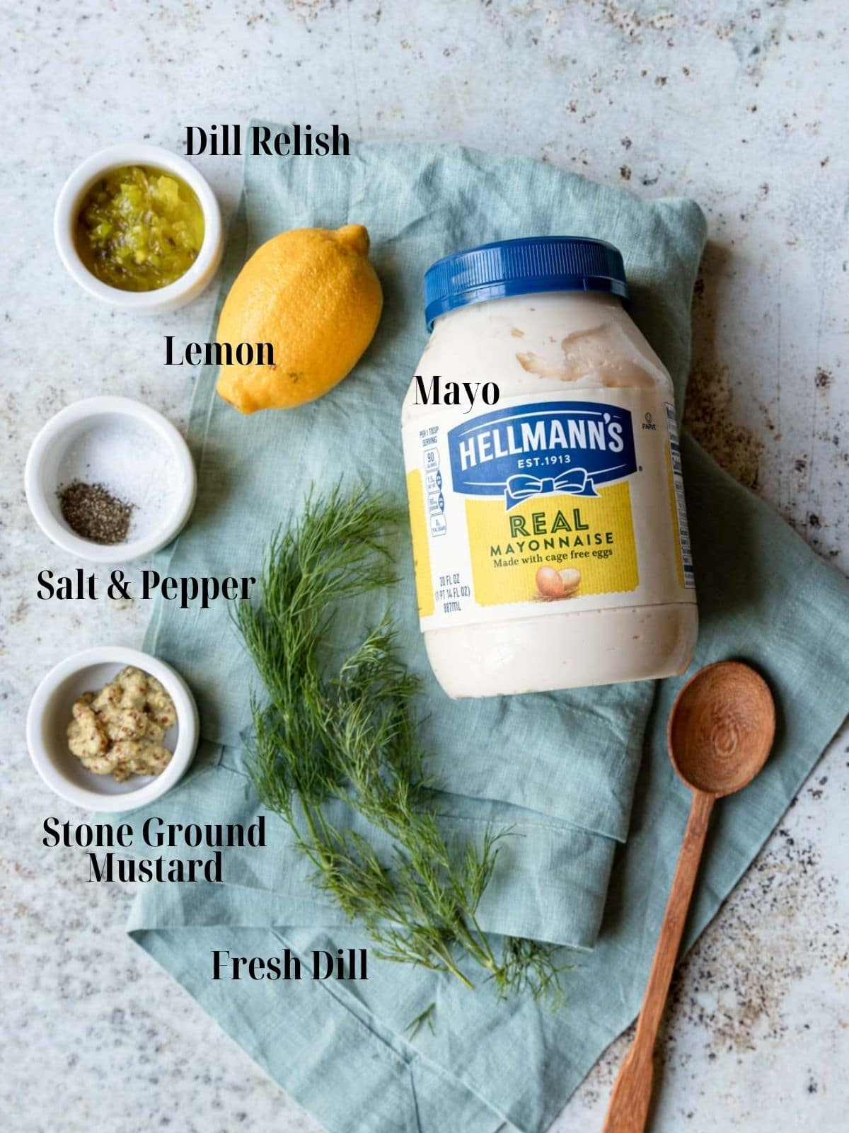 Ingredients for tartar sauce with text labels