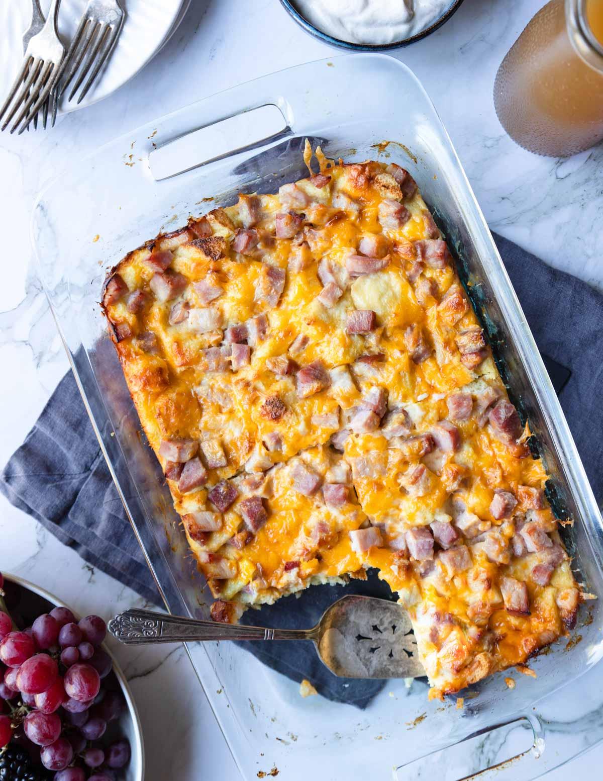 9x13 baking dish with ham breakfast casserole