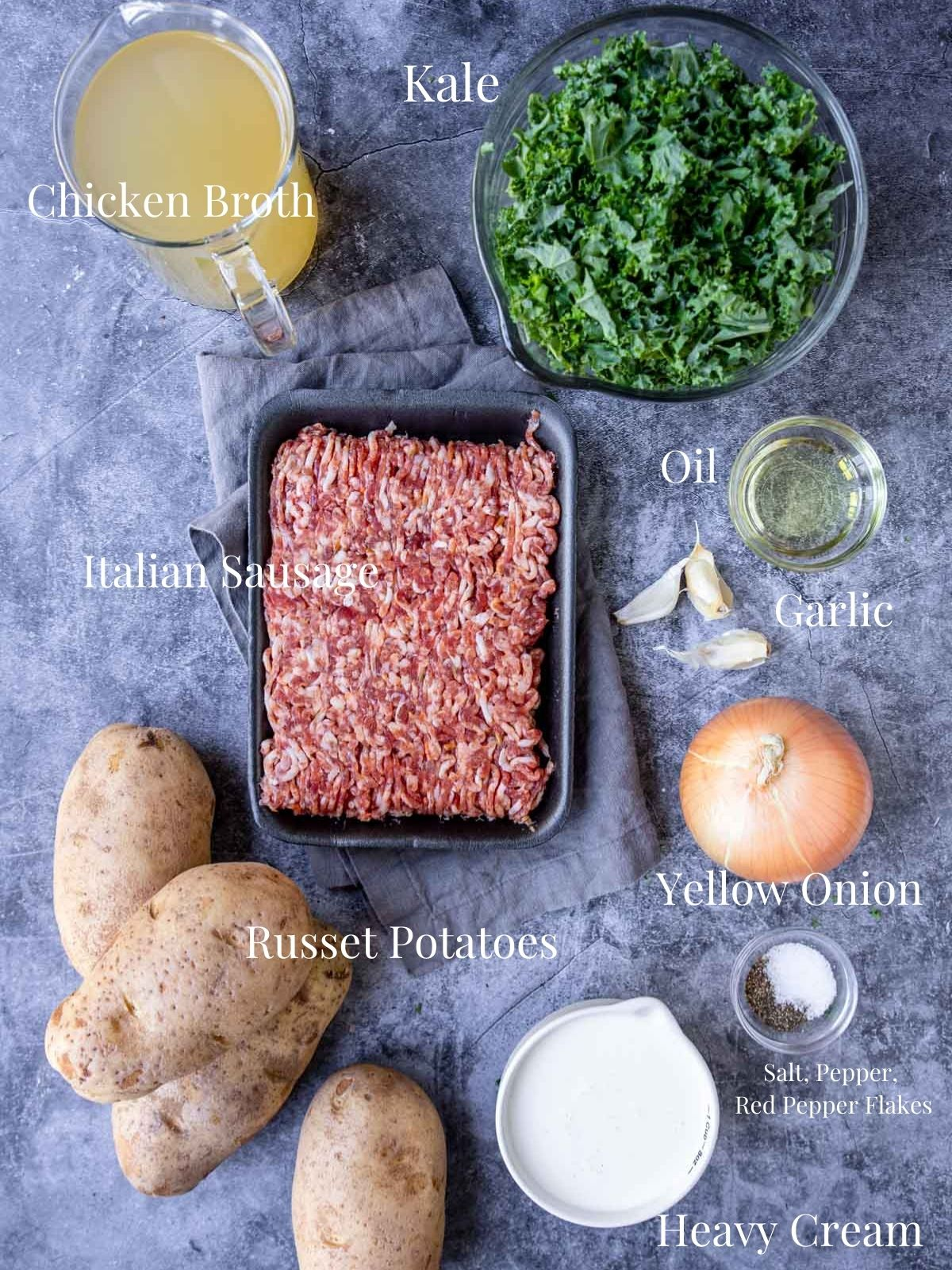 ingredients for zuppa toscana on a table with text overlays